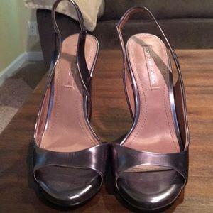 Bcbg dark silver w/ gold heels.